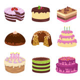 Birthday party vector tasty cakes. Anniversary decorating cake and cupcakes Royalty Free Stock Photo