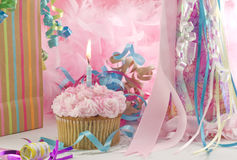Free Birthday Party With Cupcake And Candle Stock Photos - 11275443