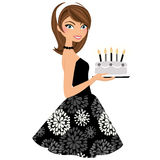Birthday party woman. Brunette woman in black party dress with birthday cake Royalty Free Stock Image
