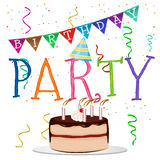 Birthday party word with colored confetti and party hat Royalty Free Stock Images