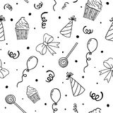 Birthday pattern. Party background. Hand drawn seamless pattern. Vector illustration. Birthday pattern. Party background. Hand drawn seamless pattern Vector Royalty Free Stock Images
