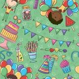 Birthday Pattern. Birthday Party Seamless Pattern With Boys Royalty Free Stock Photo