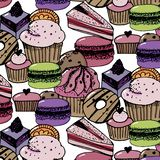 Birthday pattern with sweets - ice cream, donuts, cupcakes, chocolate bar, candies royalty free illustration
