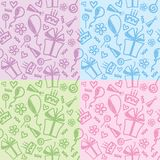 Birthday patterns. Set of four funny color birthday patterns Royalty Free Stock Photos