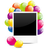 Birthday photo frame. With color balloon Stock Photography