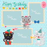 Birthday Photo Frames With Cute Cats. Decorative Template For Baby, Family Or Memories. Scrapbook Vector Illustration. Stock Photos