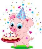 Birthday_pig. Piglet  holding birthday cake, smiling. Vector illustration Stock Image