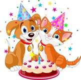Birthday_pig. Piglet  holding birthday cake, smiling. Vector illustration Stock Image