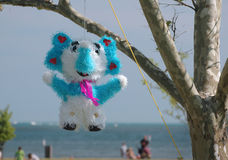 Birthday pinata. An elephant shaped pinata hanging from a tree Stock Images