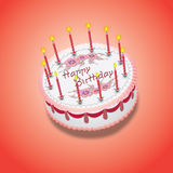 Birthday pink cake. With candles. vector illustration Royalty Free Stock Images