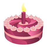 Birthday pink cake with one candle  Royalty Free Stock Images