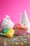 Birthday pink cupcake Stock Photography