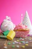 Birthday pink cupcake Stock Photography