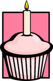 Birthday pink muffin with candle. Illustration of a birthday celebration pink muffin with a lighted candle Royalty Free Stock Photography