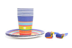 Birthday plates and cups Stock Photo