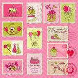 Birthday Postage Stamps. For scrapbook, invitation, congratulation - in Stock Photos