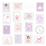 Birthday postage stamps set for girls. Stock Image