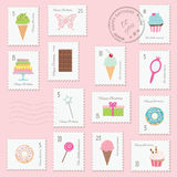 Birthday postage stamps set for girls. Different postage stamps with girly stuff and sweets. For birthday or scrapbook design Stock Photography