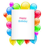 Birthday Postcard with Colorful Balloons with Text Stock Photos