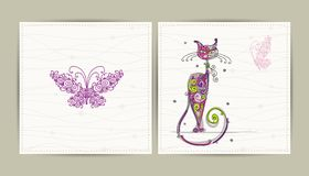 Birthday postcard with cute cat and butterfly for Royalty Free Stock Photos