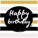 Birthday postcard. gold glitter. Birthday postcard gold glitter lettering greeting card for party Royalty Free Stock Photography