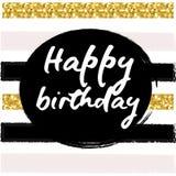 Birthday postcard. gold glitter Royalty Free Stock Photography