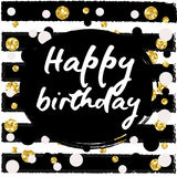 Birthday postcard. gold glitter. Birthday postcard gold glitter lettering greeting card for party Stock Image