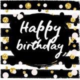 Birthday postcard. gold glitter Stock Image