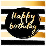 Birthday postcard. gold glitter. Birthday postcard gold glitter lettering greeting card for party Stock Photography