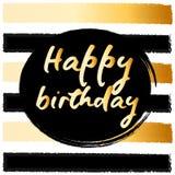 Birthday postcard. gold glitter Stock Photography
