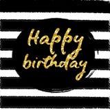 Birthday postcard. gold glitter Royalty Free Stock Image