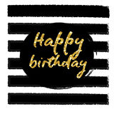 Birthday postcard. Happy Birthday to You gold glitter Royalty Free Stock Images