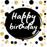 Birthday postcard. Happy Birthday to You gold glitter. Happy Birthday to You gold glitter lettering greeting card Stock Photography