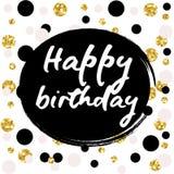 Birthday postcard. Happy Birthday to You gold glitter Stock Photography