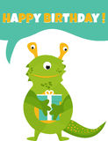 Birthday postcard or invitation with cute green monster and present Stock Photos