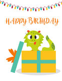 Birthday postcard or invitation with cute monster and present Royalty Free Stock Photo