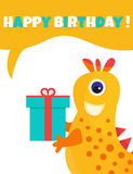 Birthday postcard or invitation with cute yellow monster and present Royalty Free Stock Images