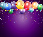 Birthday poster with balloon and confetti Royalty Free Stock Photos