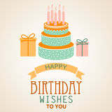 Birthday poster with cake and ribbon template Royalty Free Stock Photography