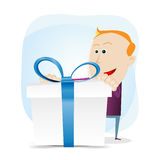 Birthday present. Illustration of a cartoon amazed young girl holding a gift box with pink ribbons. High resolution jpeg files Royalty Free Stock Photo