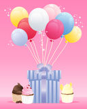 Birthday present. An illustration of a birthday present wrapped in blue striped paper with a satin ribbon and colorful balloons on a candy pink background with Royalty Free Stock Photo