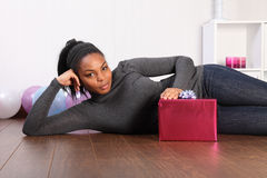 Birthday present for curvy young woman at home Stock Photo