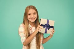 Birthday present. Cute shopper enjoy doing a little shopping. Small girl after shopping for gift. Little shopaholic with royalty free stock images