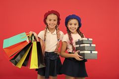 Birthday present. Shopping and holidays. For my dear friend. Girl giving gift box to friend. Girls friends celebrate stock images