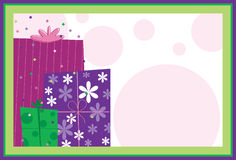 Birthday Presents. On colorful confetti and polka dot background Stock Photo