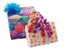 Birthday presents. Two wrapped birthday presents with bow and ribbons Royalty Free Stock Photos