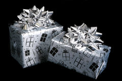 Birthday presents on a black background Royalty Free Stock Image