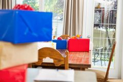 Birthday Presents On Dining Table Royalty Free Stock Photos