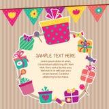Birthday presents layout frame design Stock Photo