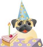 Birthday pug. The birthday of the dog, pug, joy and happiness stock illustration